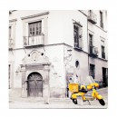 Canvas gele motorfiets